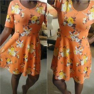 J for Justify Coral and Yellow Floral Skater Dress